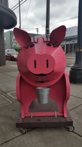 This is a happy BBQ pig