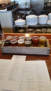 Beer flight at the Burnside Brewery